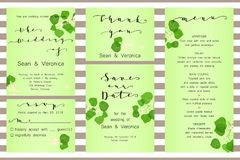 Save the date card, wedding invitation, greeting card with beautiful flowers, green leaves of linden and letters Stock Images