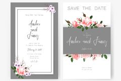 Save the date card, wedding invitation, greeting card with beautiful flowers and letters Stock Image