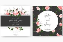 Save the date card, wedding invitation, greeting card with beautiful flowers and letters Stock Images