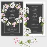 Save the date card, wedding invitation, greeting card with beautiful Alstroemeria flowers and letters vector illustration