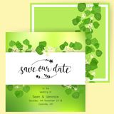 Save the date card, wedding invitation, greeting card with beautiful flowers, green leaves of linden and letters Stock Image
