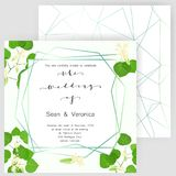 Save the date card, wedding invitation, greeting card with beautiful flowers, green leaves of linden and letters. The wedding of Royalty Free Stock Photo