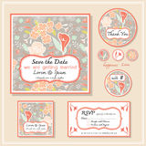 Save the date card wedding invitation set design Stock Photos