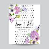 Save the Date Card Wedding Invitation Template. Botanical Card with Hydrangea Flowers and Butterflies. Greeting Floral Postcard. Vector illustration stock illustration