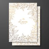 Save the date card wedding invitation template. Design template with wreath of leaves. Gold card template for greeting card, postc royalty free illustration