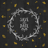 Save the Date card with wreath, lettering Royalty Free Stock Image
