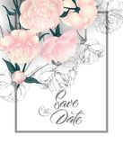 Save the date cards with peonies . Can be used for wedding invitation, birthday card, invitation card Vector template. vector illustration