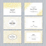Save the Date Cards Set with Gold Confetti Borders Stock Images