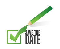 Save the date check mark pencil illustration Royalty Free Stock Image
