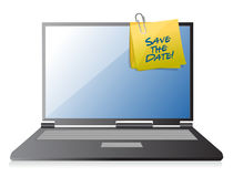 Save the date computer memo post. illustration Royalty Free Stock Photo