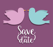 Save the date and couple of doves design Stock Photos