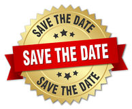 Save the date 3d gold badge. With red ribbon Stock Photography