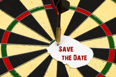 Save the Date. Darts with dart which was pinned a sheet of paper Stock Images