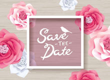 Save the date. Design with beautiful flowers stock illustration