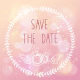 Save the date elegant wedding card with floral ele Royalty Free Stock Images