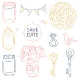 Save the date elements. Set of cute vector wedding elements Stock Photography