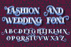 Save The Date, Fashion and Wedding font stock illustration