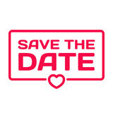 Save The Date flat icon. Wedding dialog bubble heart stamp Royalty Free Stock Image