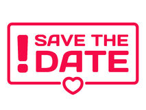 Save The Date flat icon. Wedding dialog bubble heart stamp Royalty Free Stock Photos