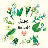 Save the date floral card in the ethnic style. Graphic illustration Stock Photography