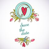 Save the date floral card. Vintage invitation. Save the date floral card. Vintage wedding invitation. flowers - summer bright background Stock Photography