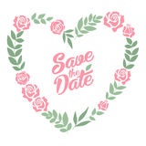 Save the date floral heart card. Vintage wedding. Invitation. Summer bright background Stock Image