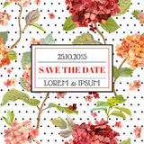 Save the Date - Floral Hortensia Autumn Card - Vintage Design Royalty Free Stock Photo
