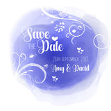 Save the date floral watercolour design Stock Photography