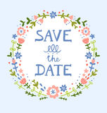 Save the date floral wreath. Decorative composition Royalty Free Stock Images
