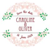 Save the date floral wreath stock illustration