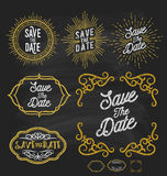 Save the date frame border chalkboard style. Stock Photography