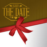 Save the date gift ribbon card illustration Royalty Free Stock Images