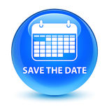 Save the date glassy cyan blue round button Royalty Free Stock Photo