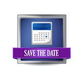 Save the date glossy blue reflected square Stock Images
