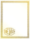 Save the date gold border background sign Stock Photography