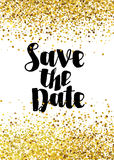 Save the date golden glitter wedding invitation template Royalty Free Stock Images