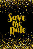 Save the date golden glitter wedding invitation template Royalty Free Stock Photo