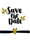 Save the date golden glitter wedding invitation template Royalty Free Stock Photos