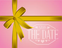 Save the date golden ribbon card illustration Stock Images