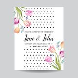 Save the Date Greeting Card with Blossom Tulips Flowers. Wedding Invitation, Anniversary Party, RSVP Floral Template royalty free illustration