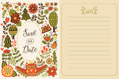 Save the date greeting card. Forest theme. Flowers, trees and owl illustration Stock Images