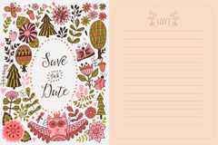 Save the date greeting card. Forest theme. Stock Images