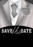 Save the date. Groom in a Silver suit illustration Royalty Free Stock Image