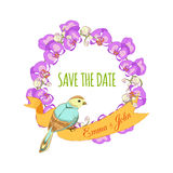 Save the date hand drawn floral wreath with ribbon Royalty Free Stock Photography