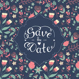 Save the date hand lettering. Royalty Free Stock Image