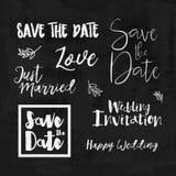 Save the date hand lettering logos. Set of wedding invitation vintage typographic design elements. V Stock Photo