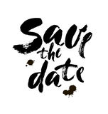 Save the date hand lettering vector handmade calligraphy. Brush lettering Stock Image