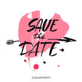 Save the date hand lettering vector handmade calligraphy. Hand drawn typography poster. Royalty Free Stock Images