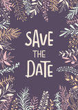 Save the date handwritten hand drawn wedding invitation. Background poster template with meadow wild twigs branches leaves Stock Photography