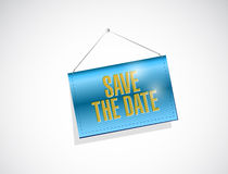 Save the date hanging banner illustration design. Over a white background Royalty Free Stock Photography
